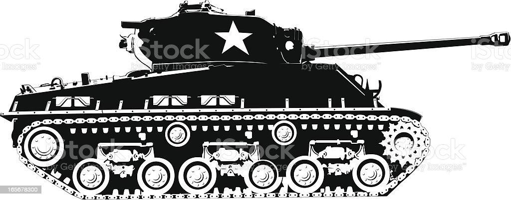 Army tank vector art illustration