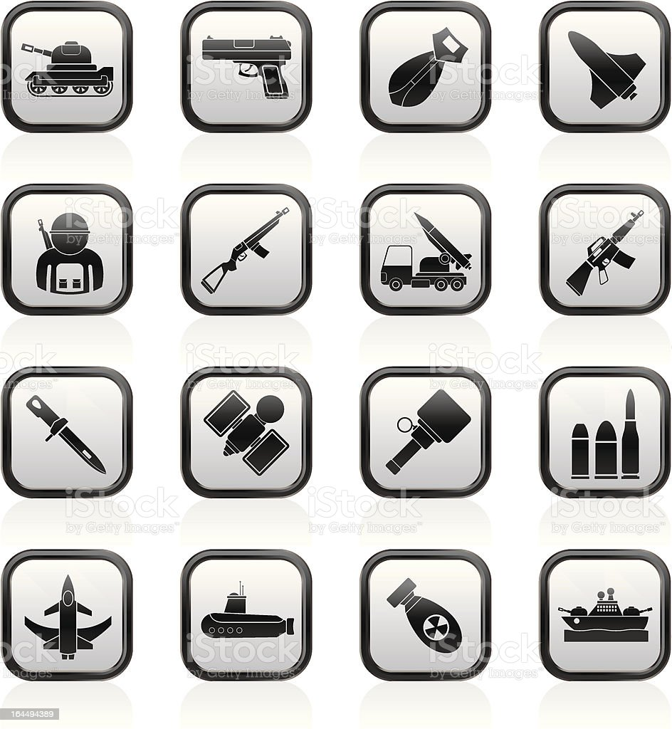 Army, weapon and arms Icons royalty-free army weapon and arms icons stock vector art & more images of aerospace industry