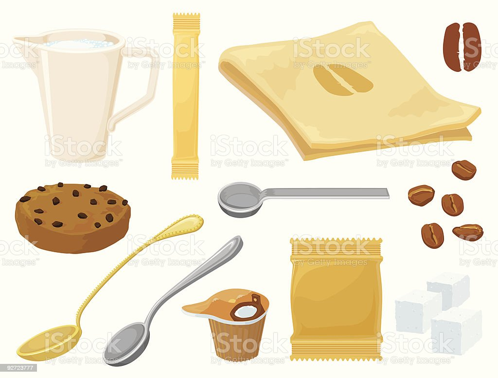 Around coffee set royalty-free stock vector art