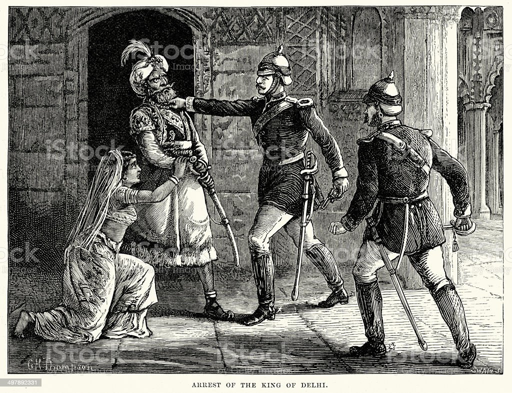 Arrest of Bahadur Shah II royalty-free arrest of bahadur shah ii stock vector art & more images of 19th century