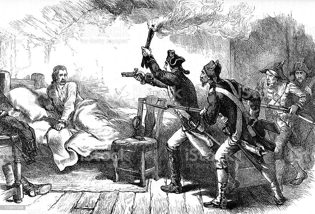 Arrest of General Richard Prescott vector art illustration