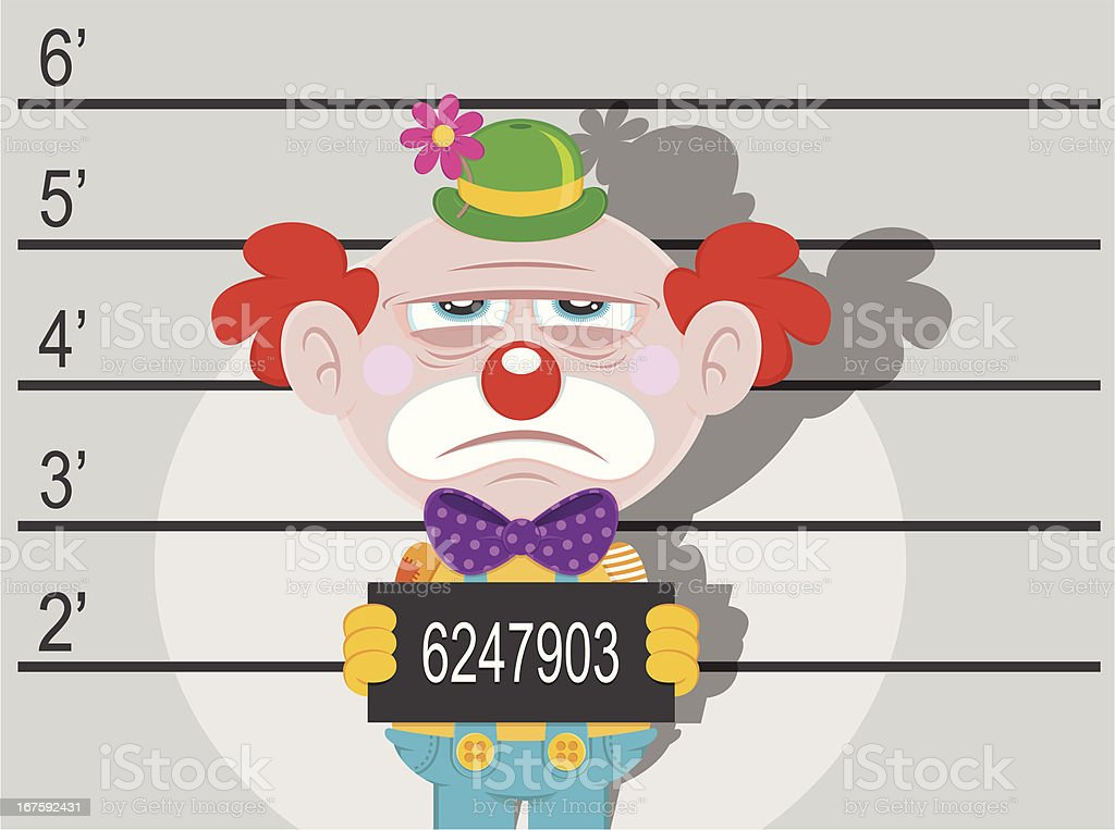 Arrested clown criminal royalty-free stock vector art