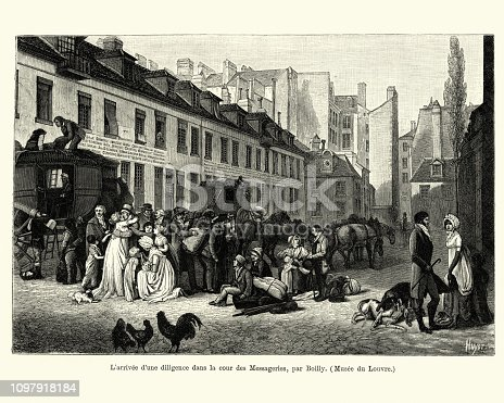 Vintage engraving L'arrivee d'une diligence dans la cour des Messageries, par Boilly (The arrival of a stagecoach in Cour des Messageries, by Louis-Leopold Boilly), French early 19th Century