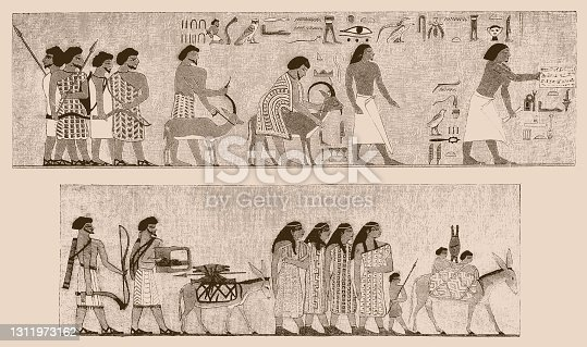 Illustration of a Arrival of Asiatic family in Egypt from Atlas of Egyptian Art by Emile Prisse d'Avennes