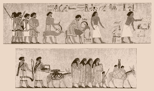 Arrival of Asiatic family in Egypt from Atlas of Egyptian Art by Emile Prisse d'Avennes