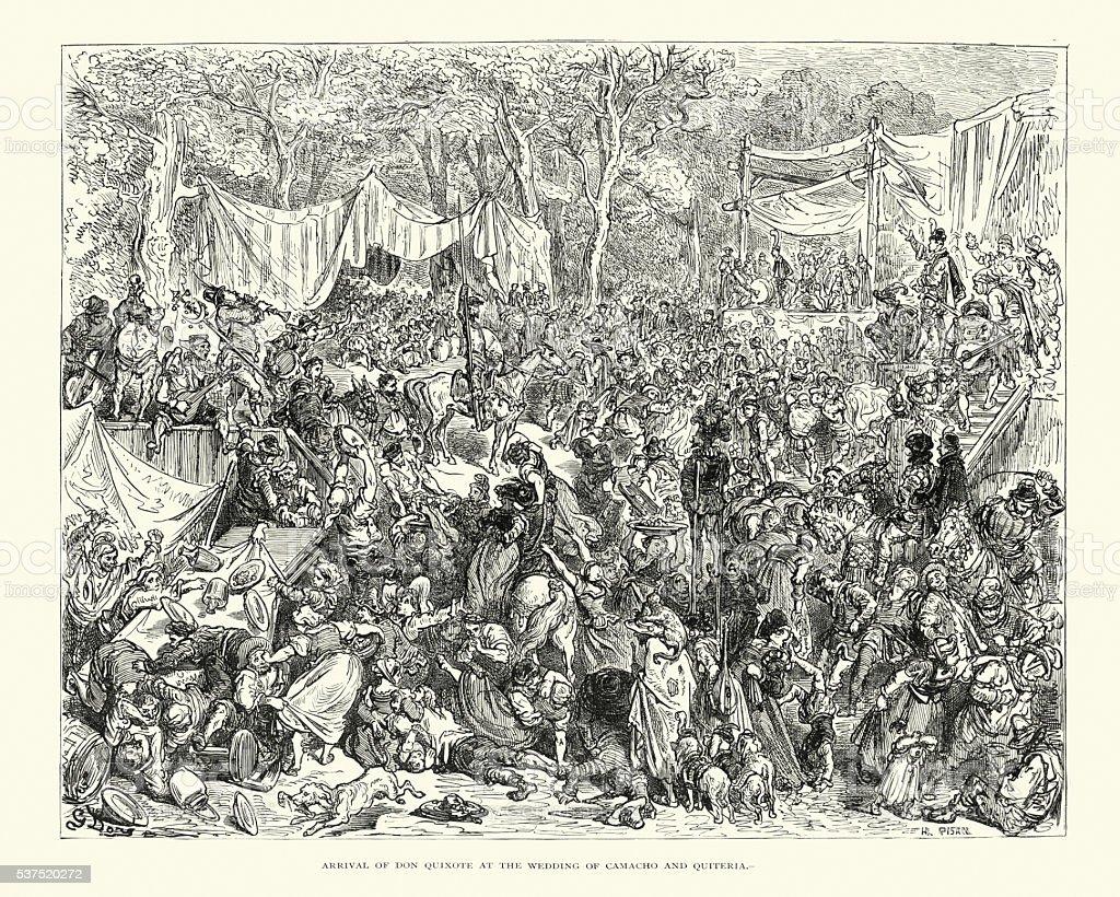 Arrival of Don Quixote at the Wedding vector art illustration