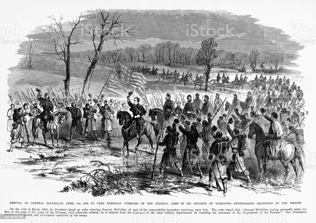 Arrival of General McClellan, Yorktown, Virginia, 1862 Civil War Engraving vector art illustration