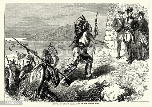 Vintage engraving of Arrival of Native American warriors at the French Camp during the Seven Years War