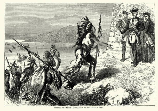 Arrival of Native American warriors at the French Camp Vintage engraving of Arrival of Native American warriors at the French Camp during the Seven Years War french culture stock illustrations