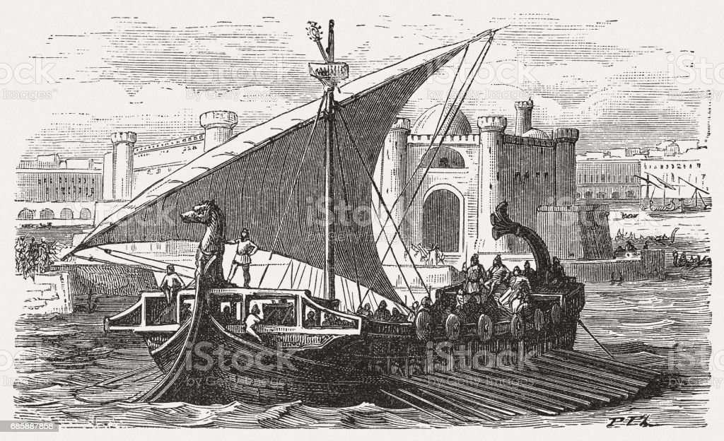 Arrival of Phoenician merchants in a port, published in 1880 vector art illustration