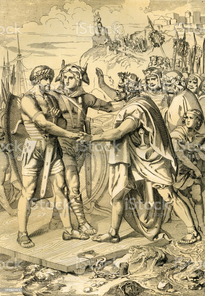 Arrival of the Anglo-Saxons in Britain - Antique Illustration (XXXL) vector art illustration