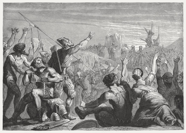 Arrival of the Ark of Covenant in Jerusalem (2 Samuel 6) vector art illustration