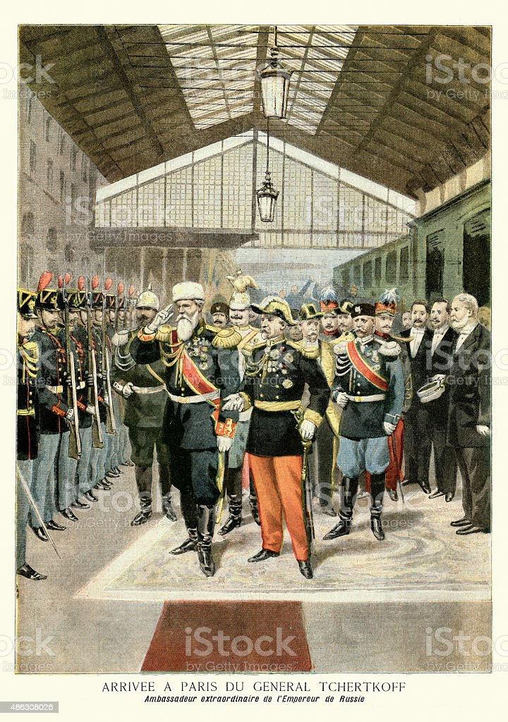 Arrival of the Russian ambassador to France, Paris 1895 vector art illustration