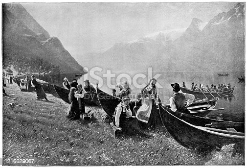 Arrival to the Church, Sunday Morning in Norway by Hans Dahl (circa 19th century). Vintage etching circa late 19th century.