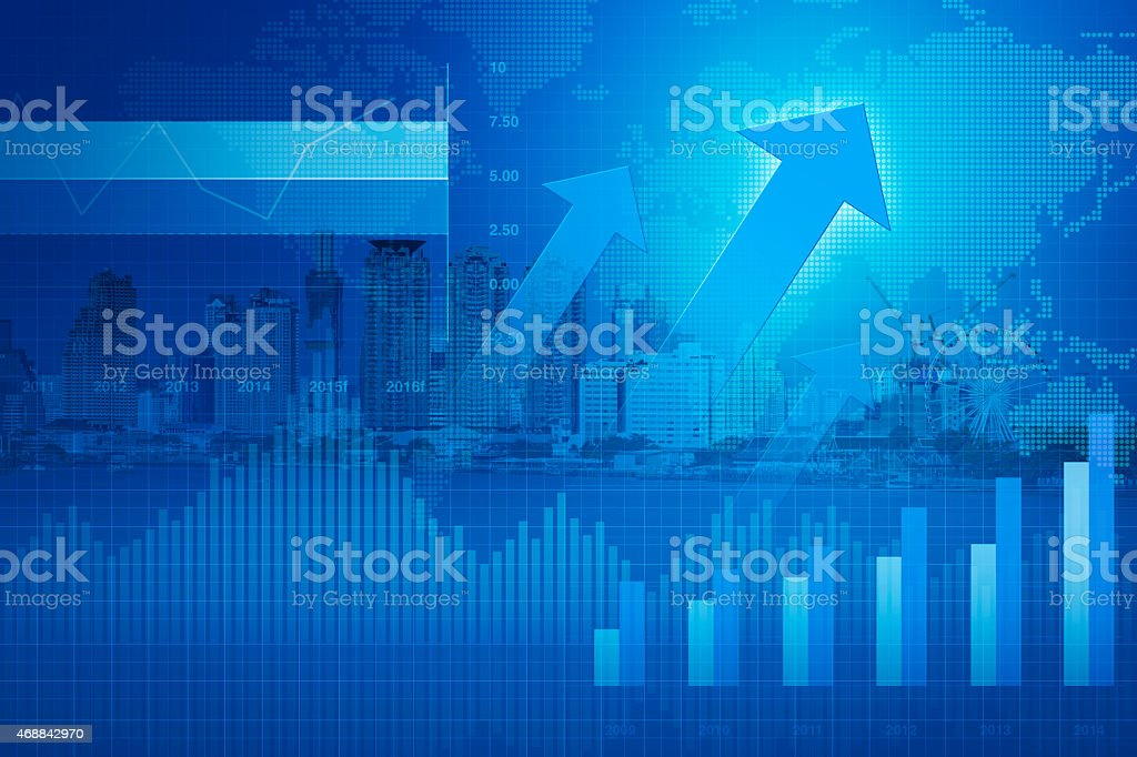 Arrow head with Financial graph on city background; success concept vector art illustration