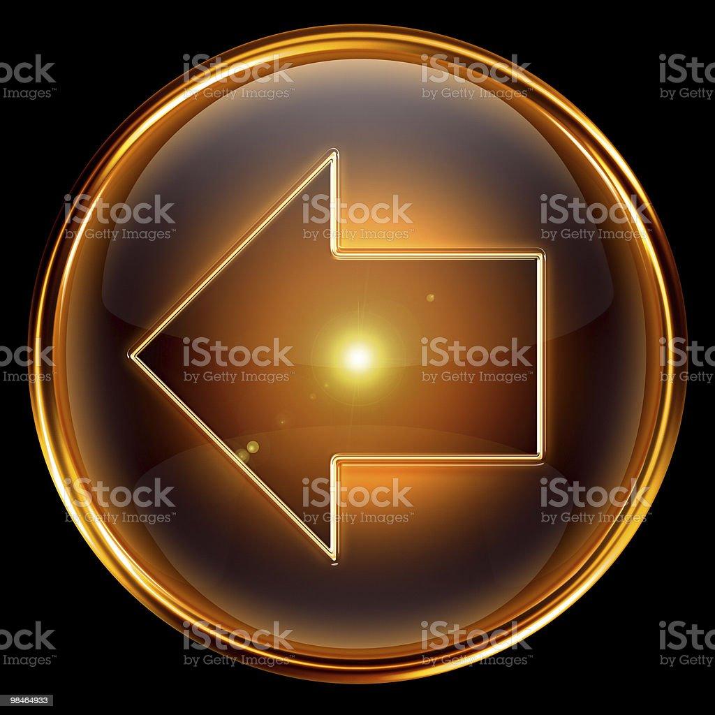 Arrow left icon golden, isolated on black background royalty-free arrow left icon golden isolated on black background stock vector art & more images of arrow symbol