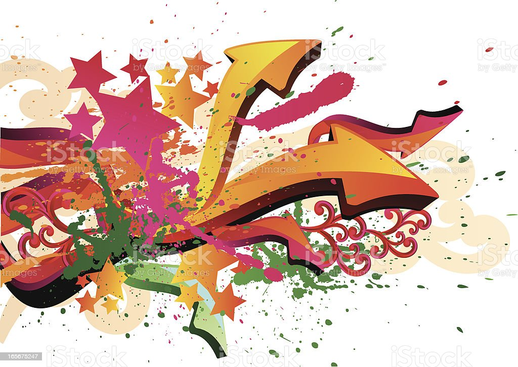 Pfeile & Farbspritzern – Vektorgrafik