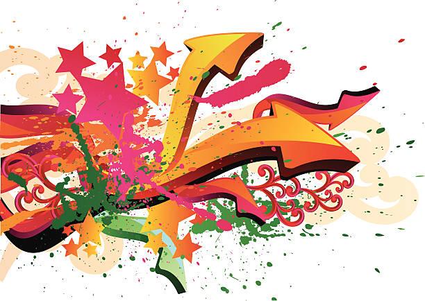 pfeile & farbspritzern - graffiti schriftarten stock-grafiken, -clipart, -cartoons und -symbole