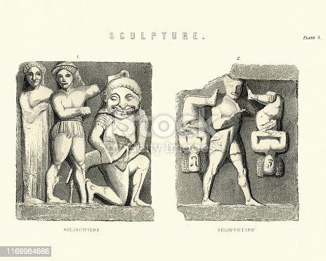 Vintage engraving of Art, Ancient bas relief scilptures, Selinunte, Ancient Greek, Sicily