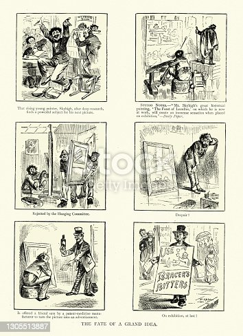 istock Art and advertising, fate of a grand idea, Victorian cartoon, 19th Century 1305513887
