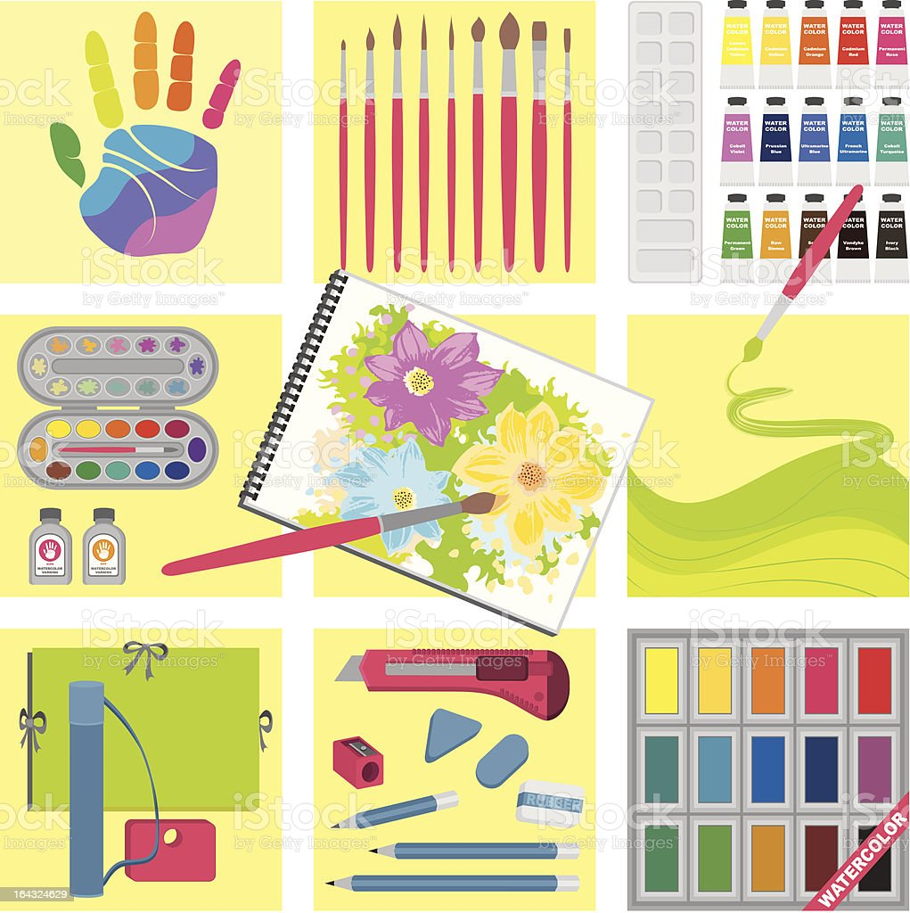 Art and craft elements – Watercolor painting royalty-free stock vector art