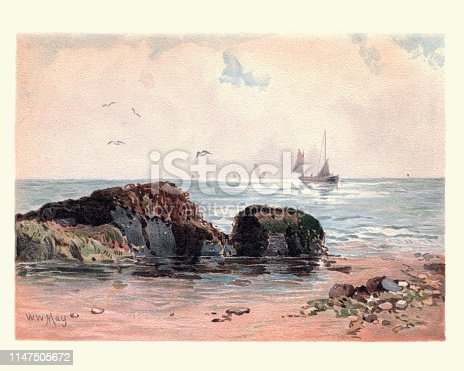 Vintage painting of Rocks at low water, 19th Century, by Walter William May