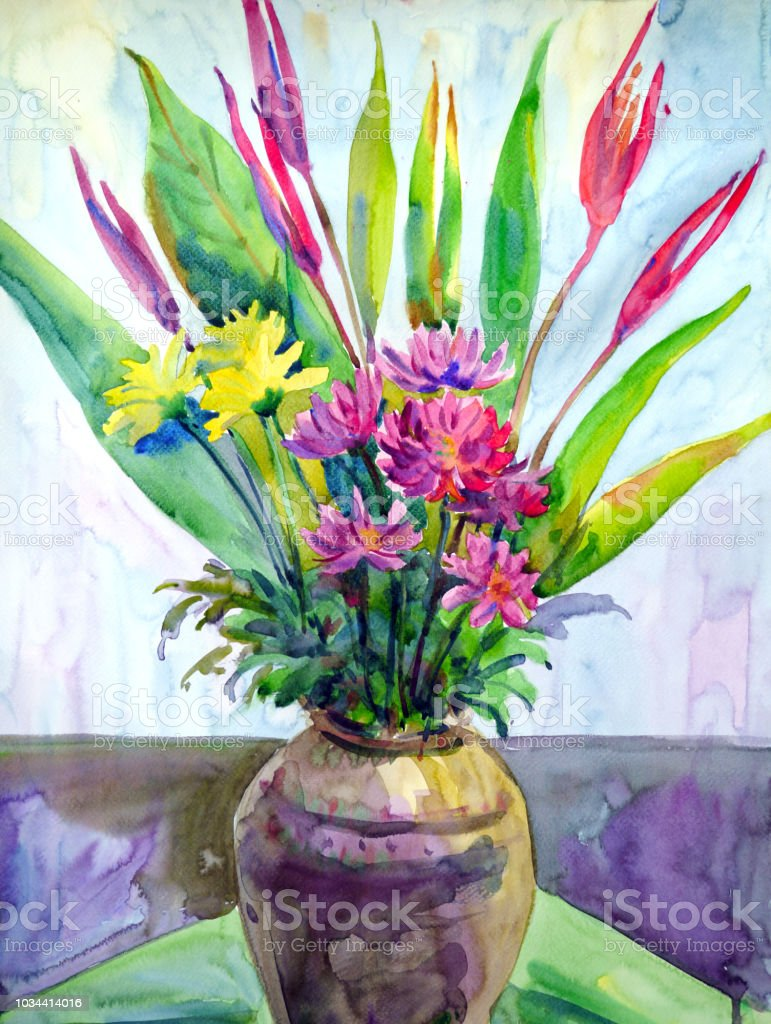 Kunstblumen In Vase Stilleben Aquarell Malerei Illustration Design Stock Vektor Art Und Mehr Bilder Von Abstrakt Istock