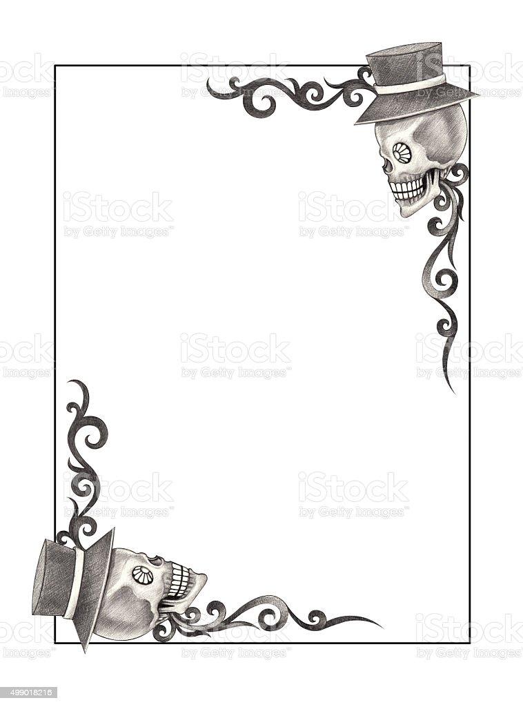 Art Frame Skull Smiley Face Day Of The Dead Stock Vector Art & More ...