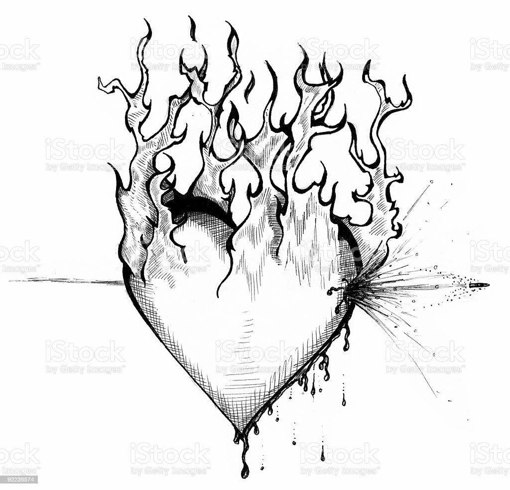 art heart of fire stock vector art 92235574 istock