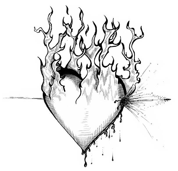 Art - Heart of Fire vector art illustration