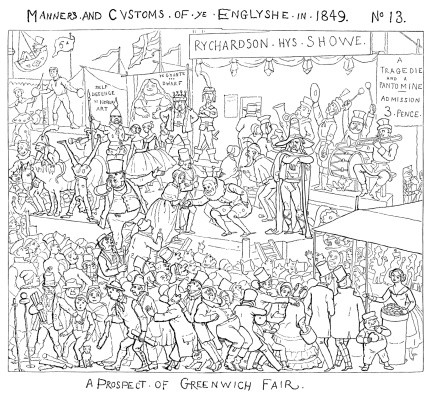 """Crowds of people enjoying the annual Fair at Greenwich, to the south east of London. All sorts of activities and debauchery took place, causing the eventual closure of the Fair in 1857! One of a series of comic cartoons of various aspects of English manners, society and customs from """"Manners and Customs of Ye Englyshe - Mr Pips hys Diary"""" drawn by Richard Doyle. Published by Bradbury & Evans, London, 1849."""