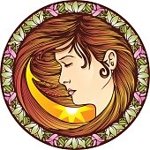Art Nouveau Girl in a Circle Frame-DAYTIME