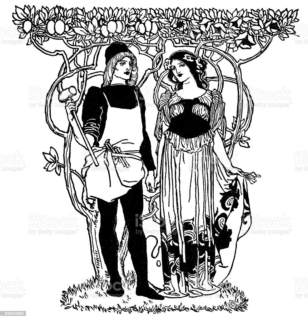 Art Nouveau man and woman standing under trees vector art illustration