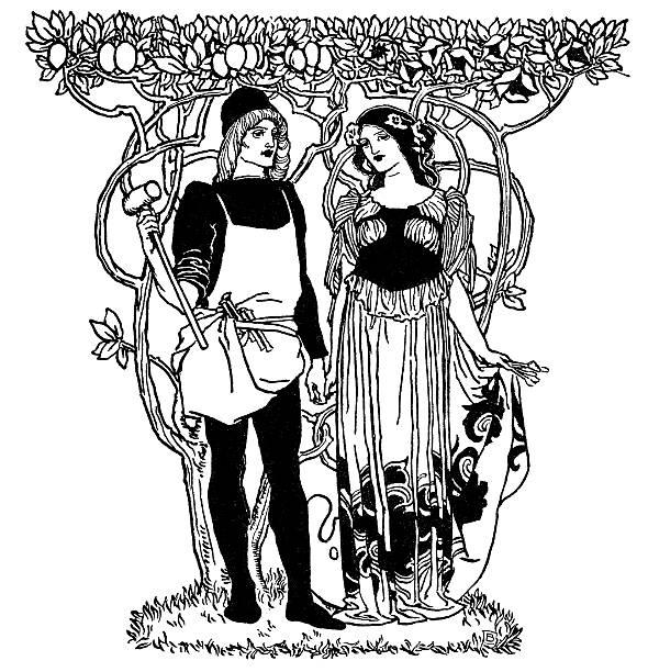 Art Nouveau man and woman standing under trees vector art illustration