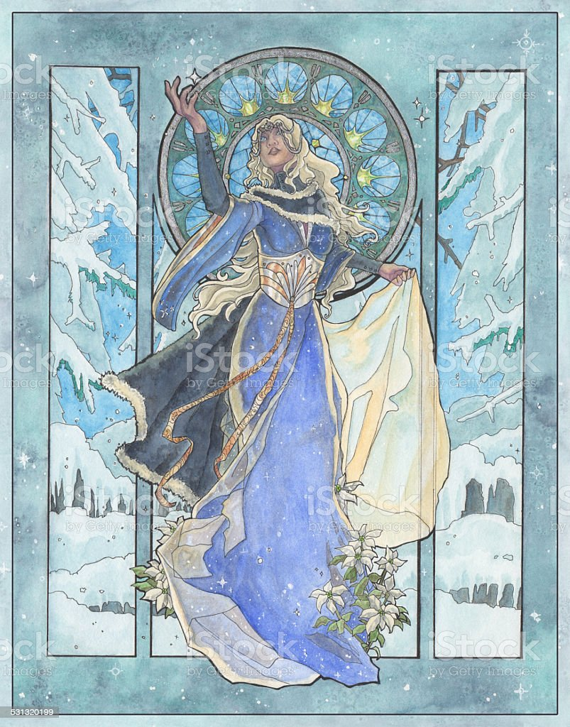 Art Nouveau Snowflake Winter Goddess with Poinsettia vector art illustration