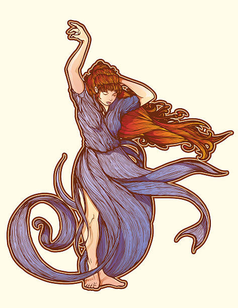 Art Nouveau Standing In The Blowing Wind vector art illustration