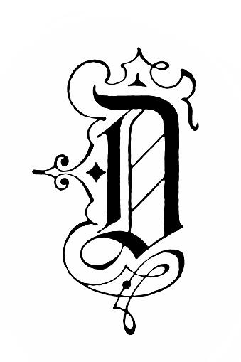 Art Nouveau style Letter D