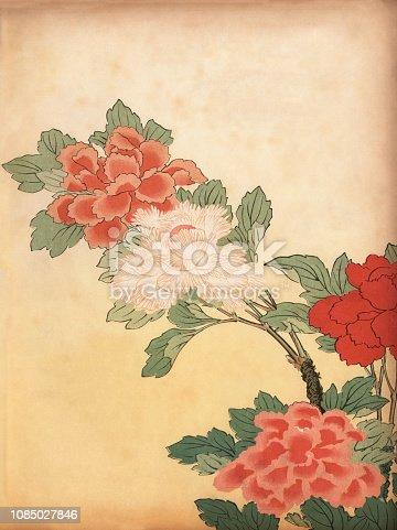 Vintage engraving of Art of Japan, Chrysanthemum flowers