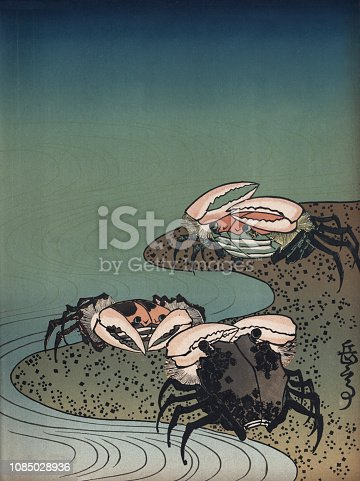 Vintage engraving of Art of Japan, Crabs on a beach