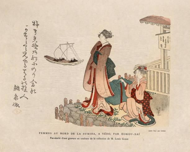 Art of Japan, Japanese women in traditional costume, Sumida River vector art illustration
