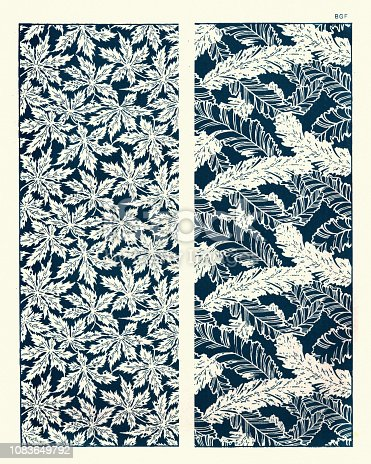 Vintage engraving of Art of Japan, Natural patterns, Leaves and Ferns