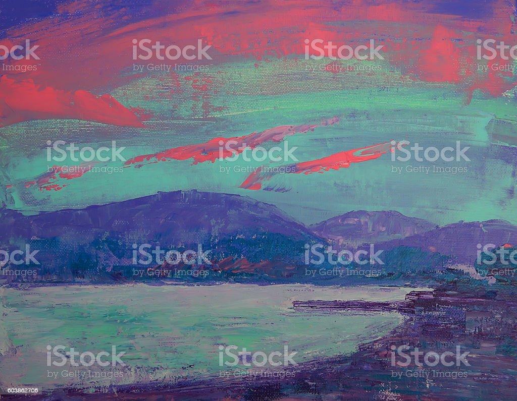 Art painting of sunset over St Tropez vector art illustration