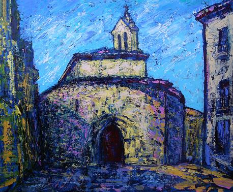 Art painting of the Church of San Marcos, (Iglesia de San Marcos) Salamanca city, Spain