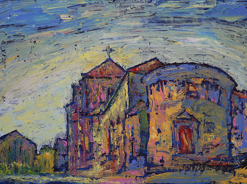 Art painting of the Colegio Arzobispo Fonseca Salamanca city, Spain