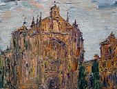 istock Art painting of the Convento de San Esteban in Salamanca city, Spain 1291431504