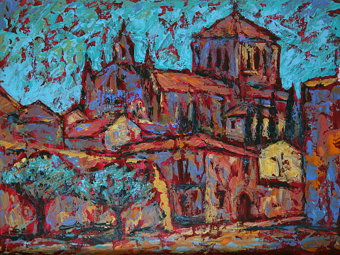 Art painting of the Convento de San Esteban in Salamanca city, Spain