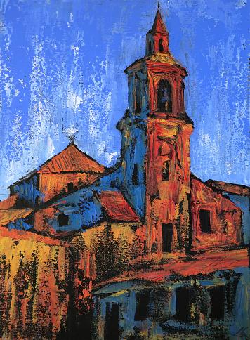 Art painting of the Iglesia parroquial de San Pedro Apstolo in Alba de Tormes city, Spain