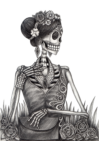 Art Skull fashion and jewelry Day of the dead.