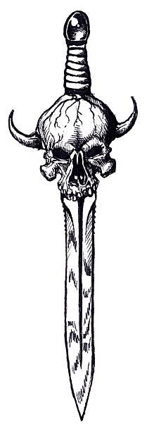 Art - Skull Sword vector art illustration