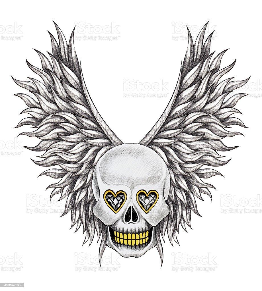 Sztuka Tatuaż Czaszka Skrzydła Anioła Stockowe Grafiki Wektorowe I